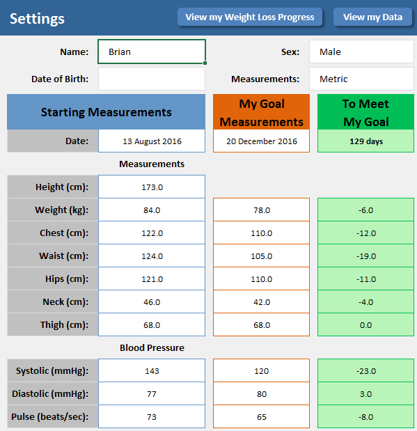 Weight Loss Tracker Excelsupersite