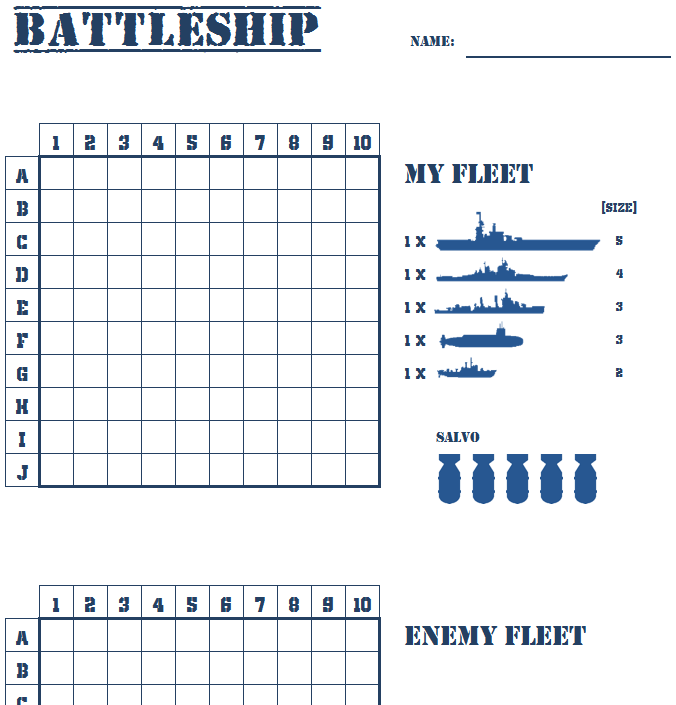 It is a graphic of Comprehensive Battleship Game Printable