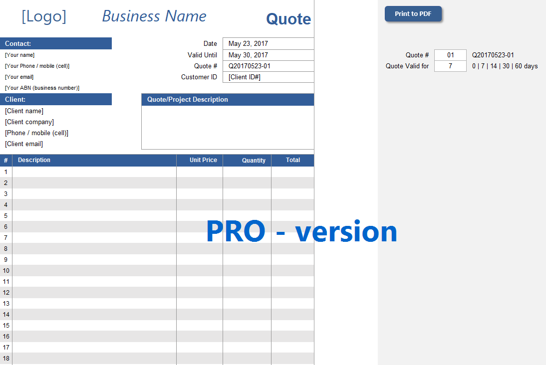 quote spreadsheet template pro version excelsupersite
